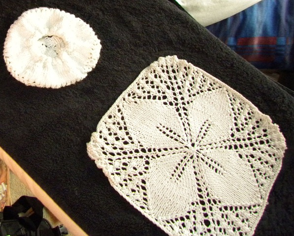 head doily before a rubber band is added
