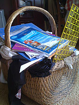wicker basket full of quilting goods